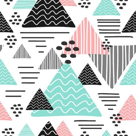 Illustration for Seamless trendy triangle pattern multicolor - Royalty Free Image