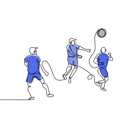Illustration pour continuous line drawing of Running Soccer Football Players. Footballers Kicking Football Match game. vector - image libre de droit