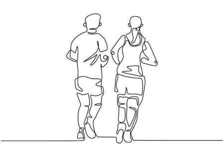 Illustration for Continuous one line drawing of people running. Sportsman and sportswoman doing exercise to make body fit. - Royalty Free Image