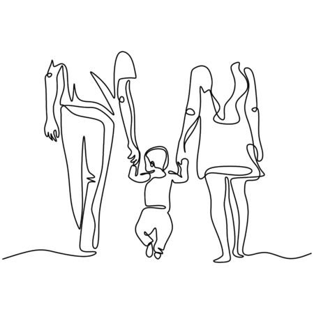 Illustration for Continuous one single line drawing of family walking. Mother, Father, and son concept of holding hands together. Parenting and childhood theme metaphor vector illustration simplicity style. - Royalty Free Image