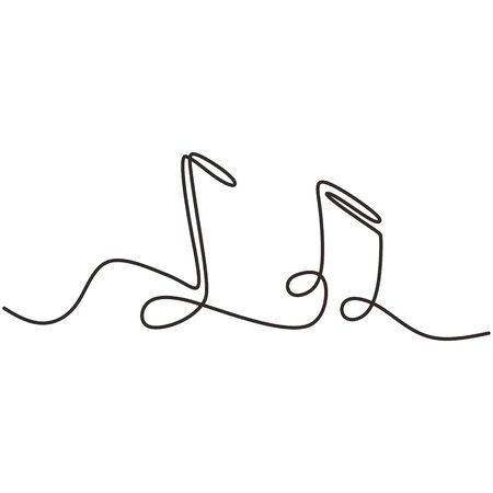Illustration for one line drawing of music notes isolated vector object continuous simplicity lineart design of sign and symbols. - Royalty Free Image