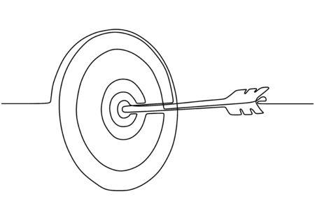 Illustration pour Continuous one line drawing of arrow on target circle. - image libre de droit