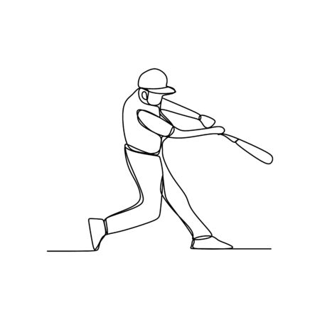 Continuous one line drawing of baseball player batter hit the ball. Baseball sport theme vector illustration.