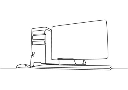 Illustration pour computer continuous line drawing. CPU and monitor minimalist technology concept. Vector illustration electronic object on white background. - image libre de droit