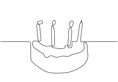 Tremendous Continuous One Line Drawing Of Birthday Cake With Light Candles Personalised Birthday Cards Vishlily Jamesorg