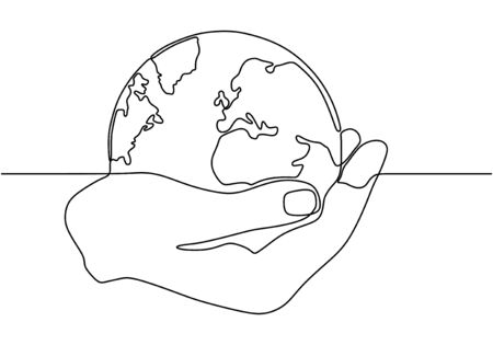 Illustration pour Continuous one line drawing of hand holding world globe. Concept of earth and ecology conservation. - image libre de droit