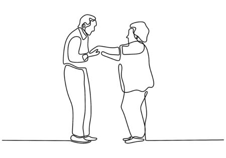 Illustration pour Continuous one line drawing of romantic couple. Old grandfather and grandmother. Parents people with love. Minimalism vector illustration hand drawn. - image libre de droit