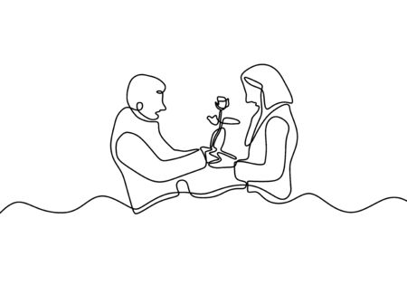 Illustration pour One line couple in love. Drawing of man giving a flower gift to woman. Romantic continuous hand drawn sketch people. Minimalist and simplicity design. Contour lineart minimalism. - image libre de droit