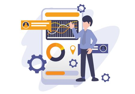 Illustration pour Chart diagram and data analysis concept, vector illustration business metaphor. A man presenting chart report. Digital internet technology. Elements for banner, ui, web, landing page, and poster. - image libre de droit