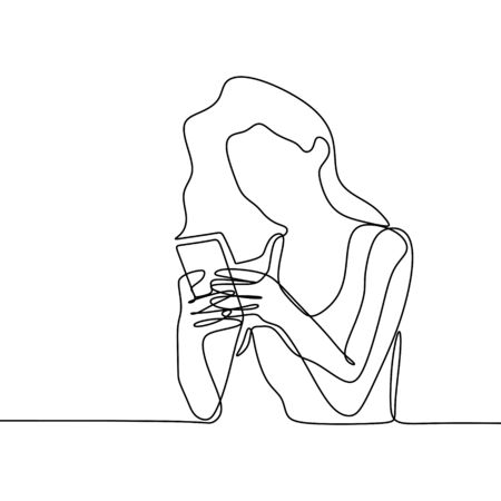 Illustration pour Girl playing and using smart phone continuous line drawing. One lineart of women communication concept vector with mobile gadget technology minimalism design illustration. - image libre de droit