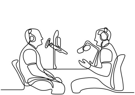 Illustration pour Two man sits in headphones at the microphone and broadcasts. One continuous line drawing of a young guy doing a podcast by interviewing the other man. Speaks into a microphone. Vector illustration - image libre de droit