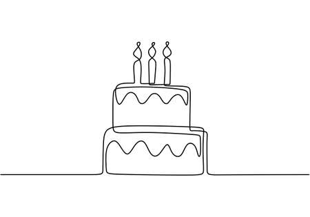 Illustration pour Continuous line drawing of Birthday cake with candle. A cake with cream and candles is drawn with a single line on a white background .Birthday party concept. Symbol of celebration - image libre de droit