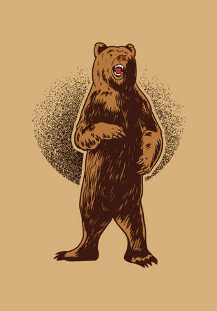 Photo pour Hand drawn bear illustration for t-shirt, poster or logo. Grizzly Illustration isolated on beige background - image libre de droit