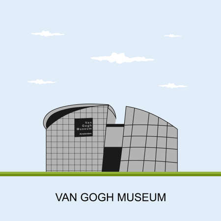 Illustration pour Van Gogh Museum in Amsterdam, Netherlands. Panoramic view building, an art museum dedicated to the works of Vincent van Gogh and his contemporaries in the Netherlands. Flat vector illustration. - image libre de droit