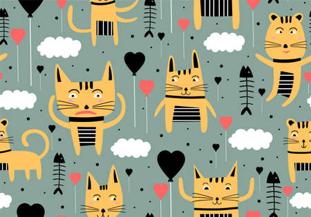 Illustration pour Vector seamless pattern with hand draw cats. Cute colorful kittens and fish on grey background. Creative nursery background. Perfect for kids design, fabric, wrapping, wallpaper, textile, apparel - image libre de droit