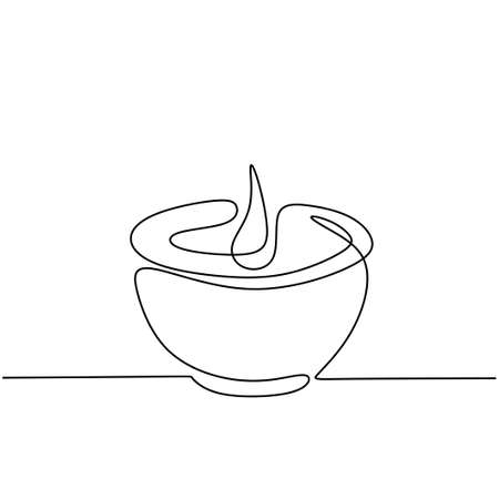 Illustration pour Candle one continuous line drawing. Burning aromatic lighted candles in cup isolated on white background. The concept of beauty spa or salon for relaxing hand-drawn line art minimalism design - image libre de droit