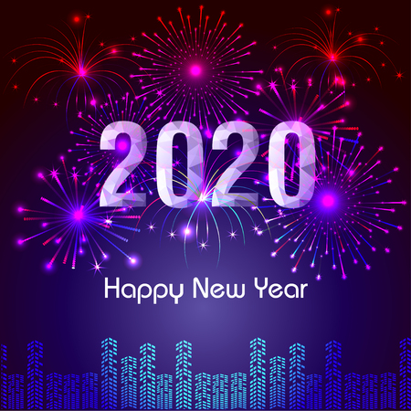 Illustration for Happy New Year 2020 background with fireworks. - Royalty Free Image