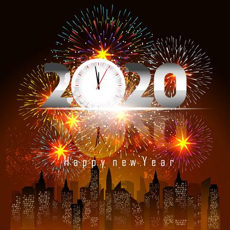 Ilustración de Happy New Year 2020 background with fireworks. - Imagen libre de derechos