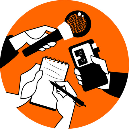 Set of hands holding microphone, voice recorder and spiral notebook. Journalism concept. Vector illustration