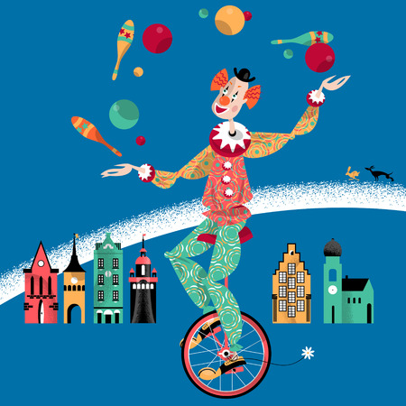 Clown on unicycle juggling with balls and pins. Vector illustration