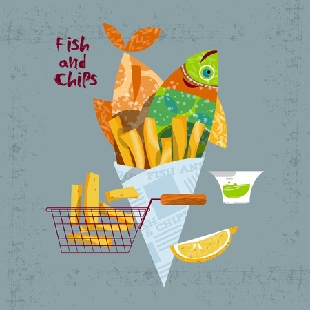 Fish and chips. British fast-food. Vector illustration