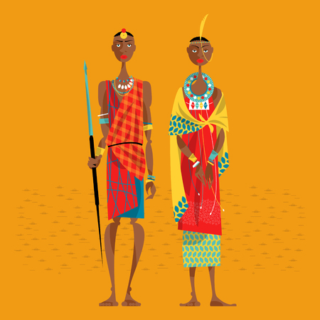Maasai couple in traditional clothing. Vector illustration