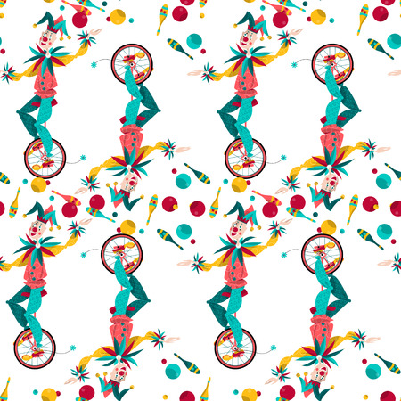 Clowns on unicycle juggling with balls and pins. Seamless background pattern. Vector illustration
