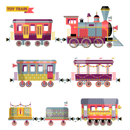 Illustration pour Toy train. Locomotive with several multi-colored coaches. Vector illustration. - image libre de droit