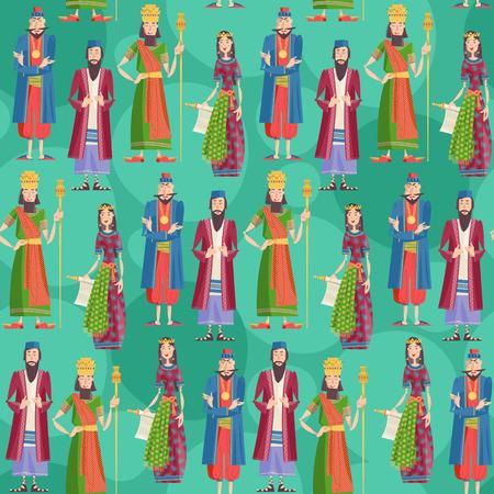 Ilustración de Purim. Book of Esther characters and heroes: Achashveirosh, Mordechai, Esther, Haman. Seamless background pattern. Vector illustration - Imagen libre de derechos