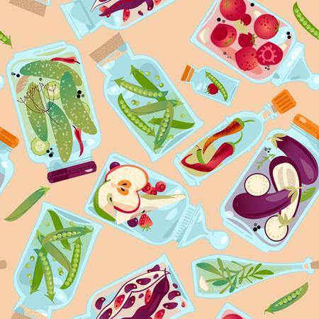 Foto für Different glass jars with preserved vegetables and fruit. Seamless background pattern. Vector illustration - Lizenzfreies Bild