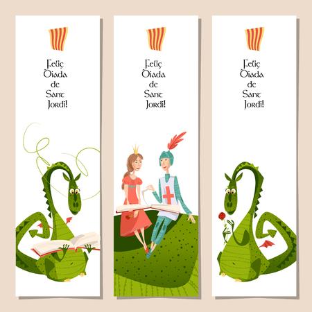 Illustration pour Set of universal bookmarks with princess, knight and dragons. Diada de Sant Jordi (the Saint George's Day). Congratulations. Template. Vector illustration - image libre de droit