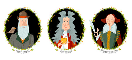 Illustration for History of England. Portraits of famous people. William Shakespeare, Isaac Newton, Charles Darwin. Vector illustration. - Royalty Free Image