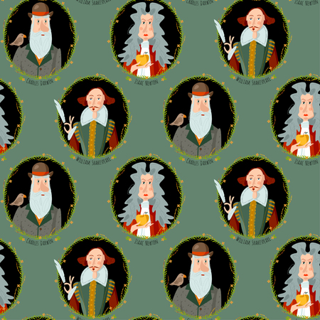 Illustration pour History of England. Portraits of famous people. William Shakespeare, Isaac Newton, Charles Darwin. Seamless background pattern. Vector illustration - image libre de droit