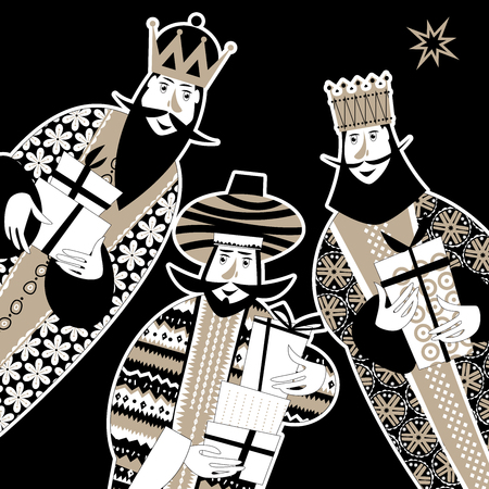 Illustration pour Three biblical Kings: Caspar, Melchior and Balthazar. Three wise men with gift boxes. Black and white. Vector illustration. - image libre de droit