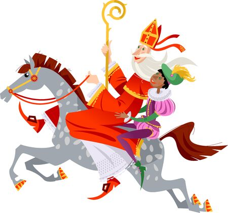 Illustration for Santa Claus (Sinterklaas) and his helper ride a horse to deliver gifts. Christmas in Holland. Vector illustration. - Royalty Free Image