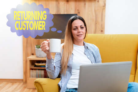 Photo for Writing displaying text Returning Customer. Business overview customer returns again and again to purchase a good Abstract Giving Business Advice Online, Spreading Internet Presence - Royalty Free Image