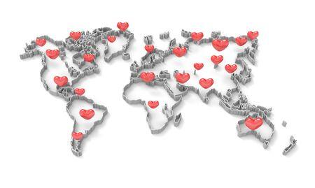 Photo pour 3D render image of world map with heart shapes - image libre de droit