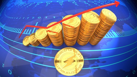 Ripple chart, currency rising in market value - symbolized by a gold coin and blue digital background.