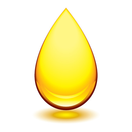 Golden amber icon with tear droplet shape and shadow glow
