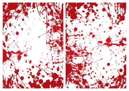 Red grunge ink splat blood border or frame background