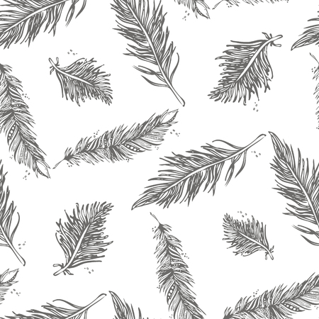 Seamless Pattern with Feathers gray on a white background. Vintage Artistically hand drawn stylized tribal feathers. Doodle Ink drawing. Boho style. Stock vector.