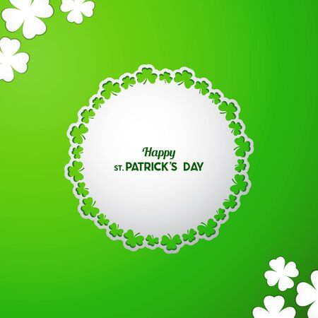 St Patrick's Day Vector background with white paper cutout round frame with ornamental border of clover leaves on green backdrop.