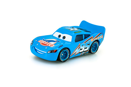 Bangkok,Thailand - January 22, 2014: Dinoco McQueen main protagonist of the Disney Pixar feature film Cars. A diecast cars collcetion from mattel inc.