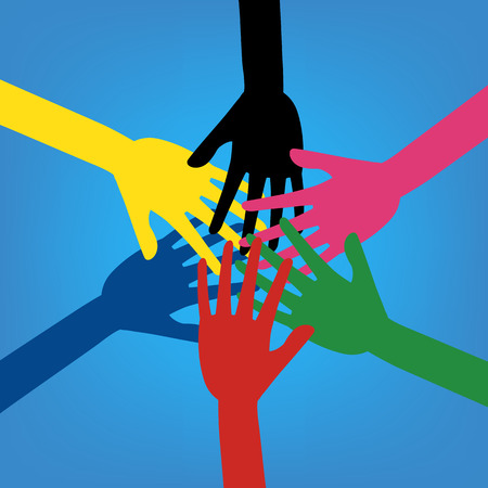 Colorful human hands touching together on blue background. Vector illustration business teamwork concept design.