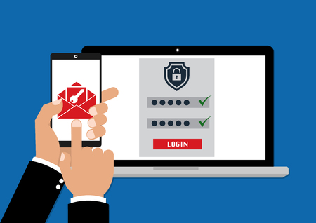 Illustration pour Two factor authentication with phone email security key and password login. Vector illustration muti factor authentication concept. - image libre de droit