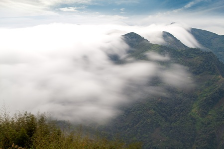 mountain ,cloud and fog in the morning