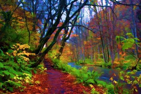 Photo pour Autumn Colors of Oirase River, located at Aomori Prefecture Japan  - image libre de droit