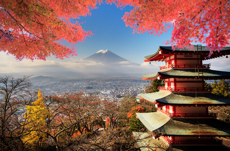 Mt. Fuji with fall colors in Japan for adv or others purpose useの写真素材
