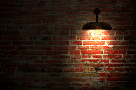 Old interior room with brick wall and three light spots for adv or others purpose use