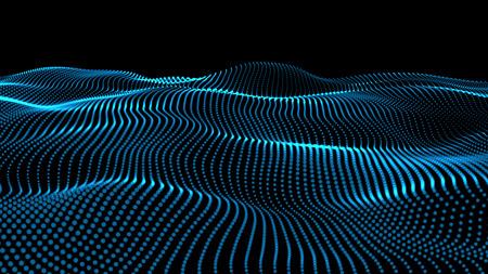 Photo pour The 3d rendering of wave particles background - 3D illuminated digital wave of glowing particles - image libre de droit